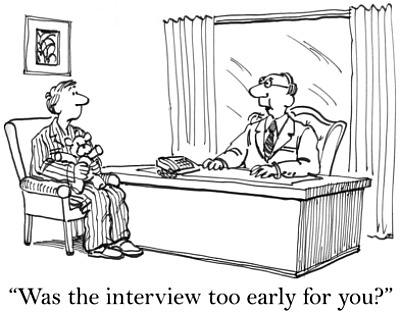 cartoon of man interviewing in his pajamas
