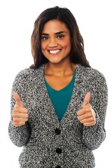 Attractive young professional woman with 2 thumbs up
